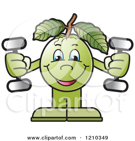 Clipart of a Guava Mascot Working out with Dumbbells - Royalty Free Vector Illustration by Lal Perera