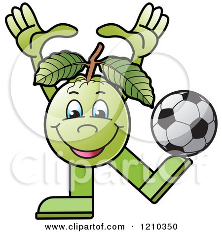 Clipart of a Guava Mascot Playing Soccer - Royalty Free Vector Illustration by Lal Perera
