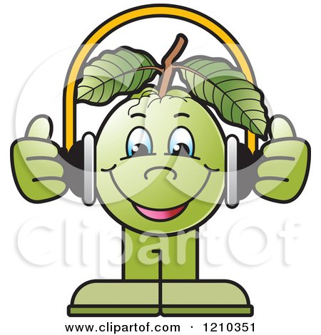 Clipart of a Guava Mascot Wearing Headphones - Royalty Free Vector Illustration by Lal Perera