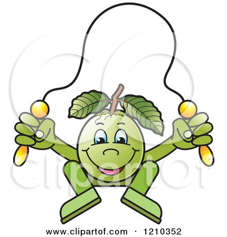 Clipart of a Guava Mascot Skipping Rope - Royalty Free Vector Illustration by Lal Perera