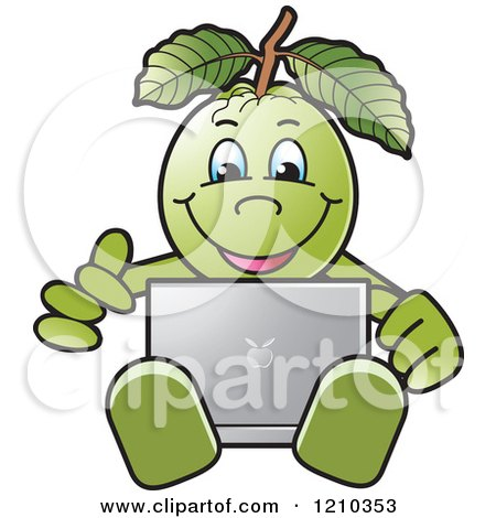 Clipart of a Guava Mascot Using a Laptop - Royalty Free Vector Illustration by Lal Perera
