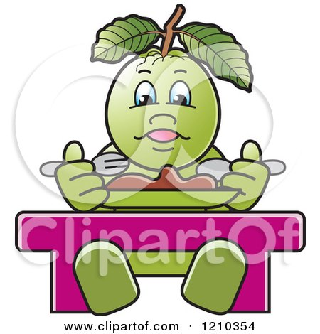 Clipart of a Guava Mascot Eating - Royalty Free Vector Illustration by Lal Perera