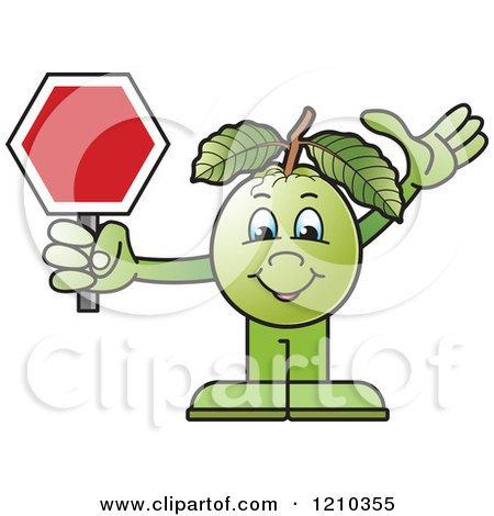 Clipart of a Guava Mascot Holding a Stop Sign - Royalty Free Vector Illustration by Lal Perera