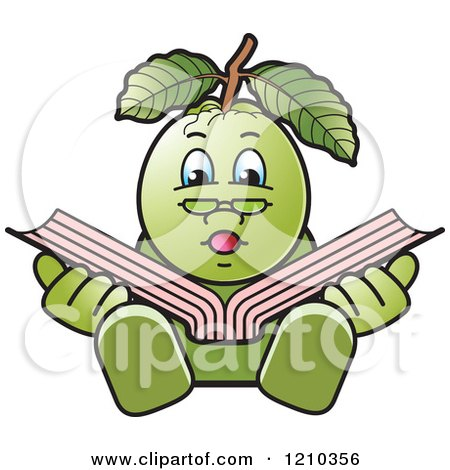 Clipart of a Guava Mascot Reading - Royalty Free Vector Illustration by Lal Perera