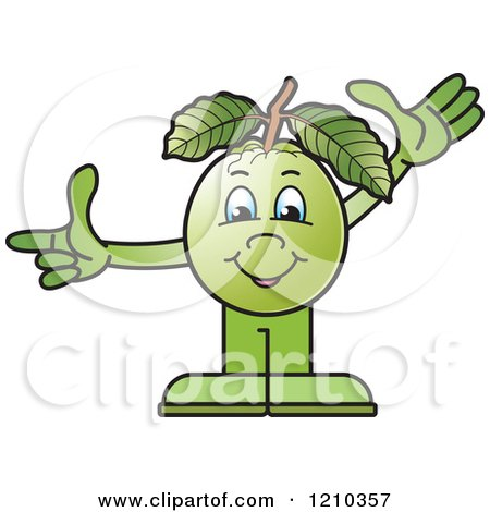 Clipart of a Guava Mascot Waving and Pointing - Royalty Free Vector Illustration by Lal Perera