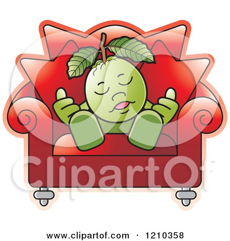 Clipart of a Guava Mascot Sleeping in a Chair - Royalty Free Vector Illustration by Lal Perera