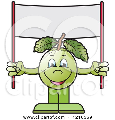 Clipart of a Guava Mascot Holding a Banner Sign - Royalty Free Vector Illustration by Lal Perera