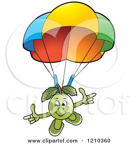 Clipart of a Guava Mascot Parachuting - Royalty Free Vector Illustration by Lal Perera