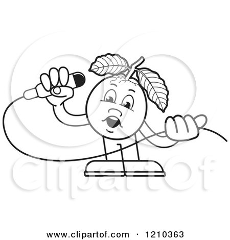 Clipart of a Black and White Guava Mascot Singing - Royalty Free Vector Illustration by Lal Perera