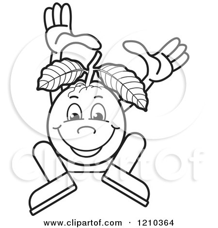 Clipart Of A Black And White Guava Mascot Dancing Or Jumping