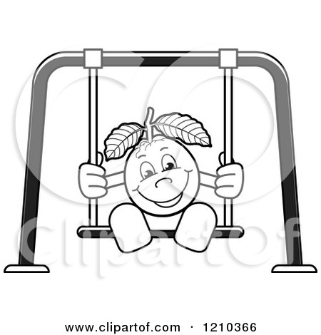 Clipart of a Black and White Guava Mascot on a Swing - Royalty Free Vector Illustration by Lal Perera