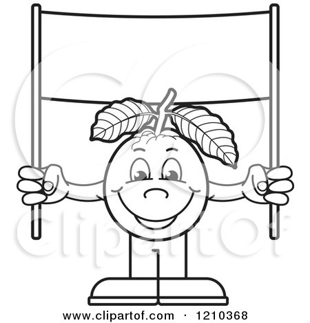 Clipart of a Black and White Guava Mascot Holding up a Banner Sign - Royalty Free Vector Illustration by Lal Perera