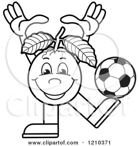 Clipart of a Black and White Guava Mascot Playing Soccer - Royalty Free Vector Illustration by Lal Perera
