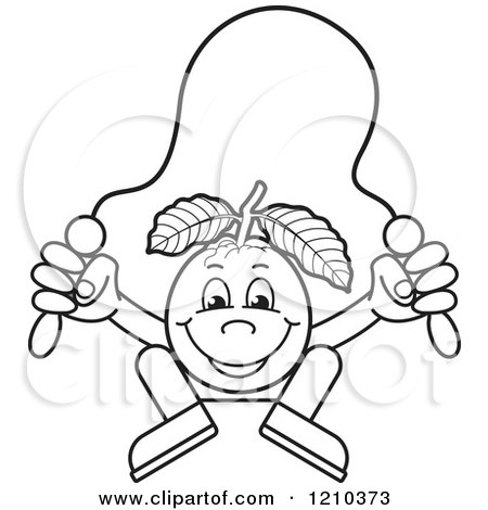 Clipart Of A Black And White Guava Mascot Skipping Rope