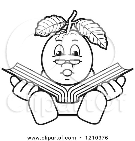 Clipart of a Black and White Guava Mascot Reading - Royalty Free Vector Illustration by Lal Perera