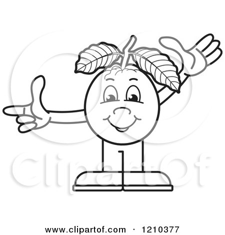 Clipart of a Black and White Guava Mascot Waving and Pointing - Royalty Free Vector Illustration by Lal Perera