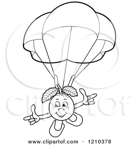 Clipart of a Black and White Guava Mascot Parachuting - Royalty Free Vector Illustration by Lal Perera