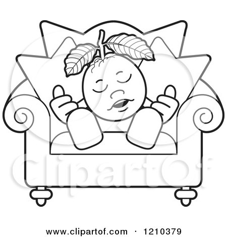 Clipart of a Black and White Guava Mascot Sleeping in a Chair - Royalty Free Vector Illustration by Lal Perera