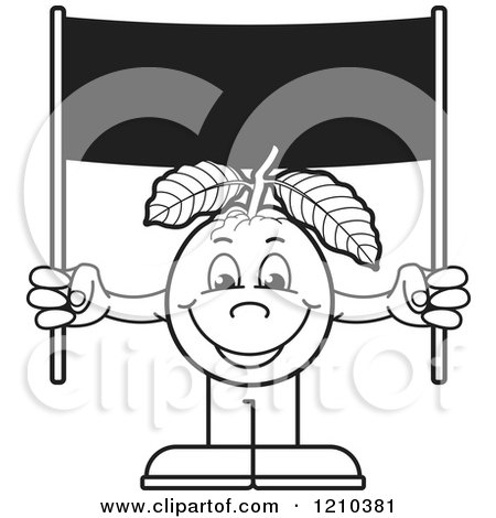 Clipart of a Black and White Guava Mascot Holding a Banner Sign - Royalty Free Vector Illustration by Lal Perera