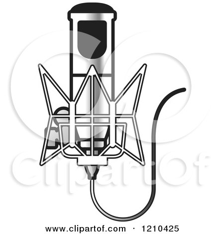 Clipart of a Retro Silver Microphone and Wire - Royalty Free Vector Illustration by Lal Perera