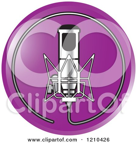 Clipart of a Retro Silver Microphone and Wire Circle on a Purple Icon - Royalty Free Vector Illustration by Lal Perera