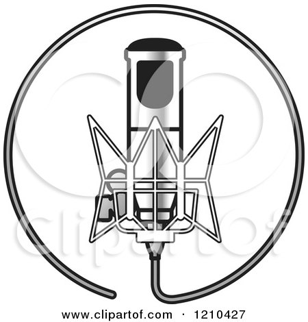 Clipart of a Retro Silver Microphone and Wire Circle - Royalty Free Vector Illustration by Lal Perera
