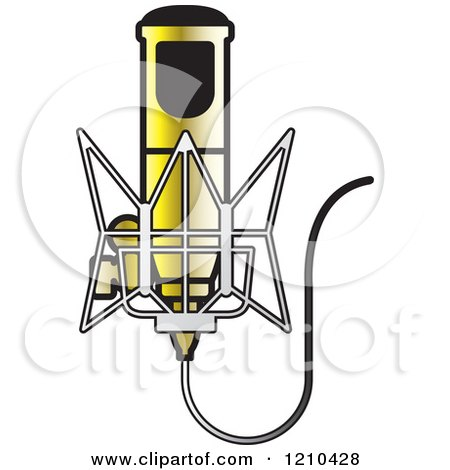Clipart of a Retro Gold Microphone and Wire - Royalty Free Vector Illustration by Lal Perera