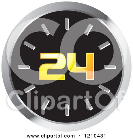 Clipart of a Wall Clock with 24 - Royalty Free Vector Illustration by Lal Perera