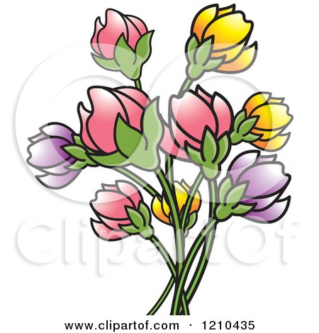 Clipart of a Bunch of Pink Purple and Yellow Flowers - Royalty Free Vector Illustration by Lal Perera