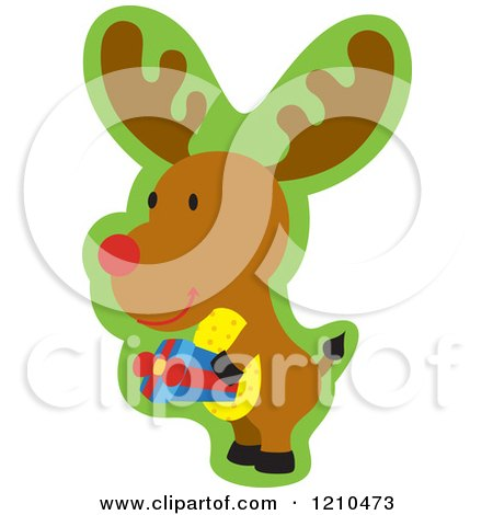 Cartoon of a Christmas Rudolph Reindeer Carrying a Gift - Royalty Free Vector Clipart by Cherie Reve