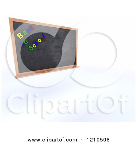 Clipart of a 3d Black Slate Board with Back to School Magnets - Royalty Free CGI Illustration by KJ Pargeter