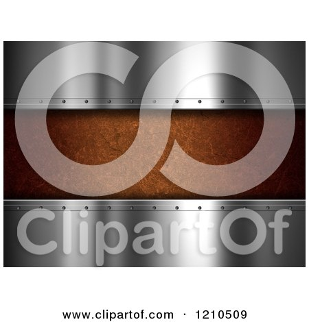 Clipart of 3d Shiny Metal Plates and Brown Concrete - Royalty Free CGI Illustration by KJ Pargeter