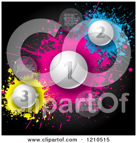 Clipart of Numbered Infographic Balls and Spheres with Sample Text over Blue Pink and Yellow Splatters - Royalty Free Vector Illustration by KJ Pargeter