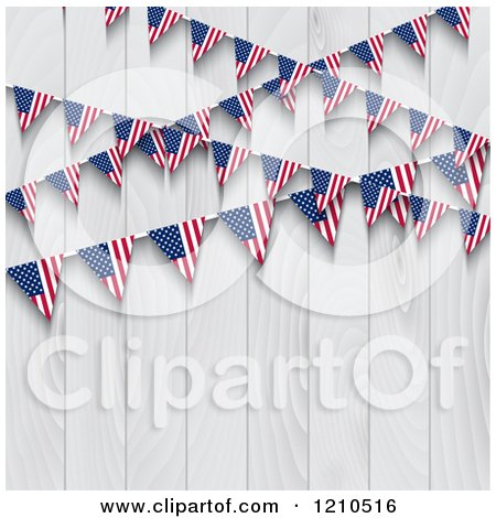 Clipart of American Flag Bunting Party Banners over a White Wooden Fence - Royalty Free Vector Illustration by KJ Pargeter