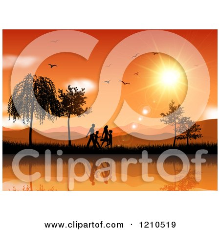 Clipart of a Silhouetted Family Walking Along a Lake Against an Orange Sunset with Birds - Royalty Free Vector Illustration by KJ Pargeter