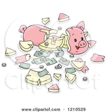 Cartoon of a Shattered Piggy Bank with Cash and Coins - Royalty Free Vector Clipart by Alex Bannykh