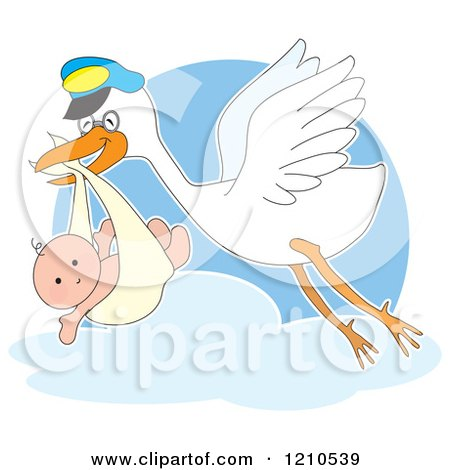 Cartoon of a Happy Stork Bird Fling with a Baby in a Bundle - Royalty Free Vector Clipart by Maria Bell