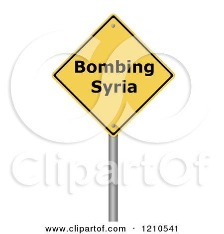 Clipart of a 3d Bombing Syria Warning Sign - Royalty Free CGI Illustration by oboy