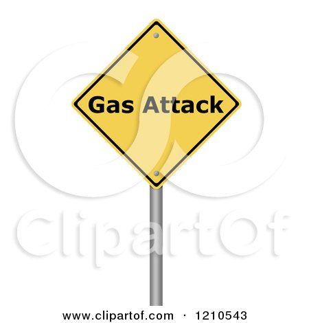 Clipart of a 3d Gas Attack Warning Sign - Royalty Free CGI Illustration by oboy