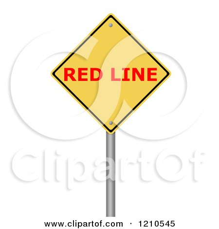 Clipart of a 3d Red Line Warning Sign - Royalty Free CGI Illustration by oboy