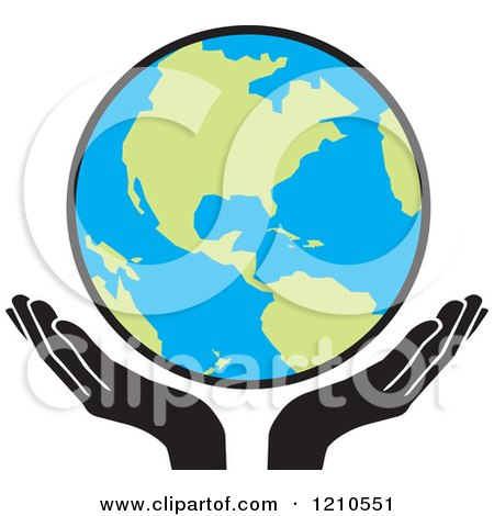 Clipart of Uplifted Hands and Earth - Royalty Free Vector Illustration by Johnny Sajem