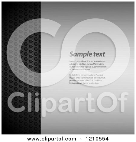 Clipart of a Brushed and Perforated Metal Background with Sample Text - Royalty Free Vector Illustration by elaineitalia