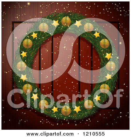 Clipart of a Christmas Wreath with Golden Elements on a Wood Door - Royalty Free Vector Illustration by elaineitalia