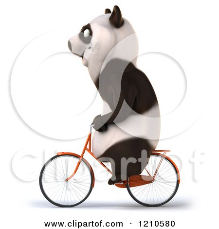 Clipart of a Happy Panda Bear Riding a Bicycle 2 - Royalty Free CGI Illustration by Julos
