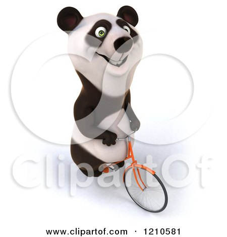 Clipart of a Happy Panda Bear Riding a Bicycle 3 - Royalty Free CGI Illustration by Julos