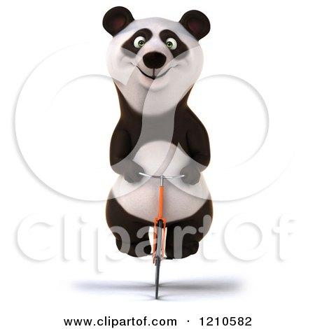 Clipart of a Happy Panda Bear Riding a Bicycle - Royalty Free CGI Illustration by Julos