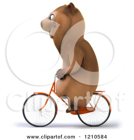 Clipart of a Happy Brown Bear Riding a Bicycle 2 - Royalty Free CGI Illustration by Julos