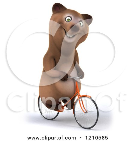 Clipart of a Happy Brown Bear Riding a Bicycle 3 - Royalty Free CGI Illustration by Julos