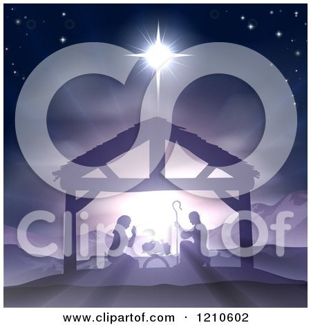 Clipart of a Purple Toned Nativity Scene with Baby Jesus in the Manger Under the Star of Bethlehem - Royalty Free Vector Illustration by AtStockIllustration