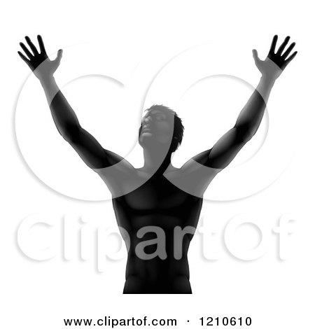 Clipart of a Silhouetted Man Holding His Arms up to the Sky - Royalty Free Vector Illustration by AtStockIllustration